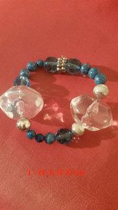 BRACCIALE SELENE - metallo morbido/pietre trasparenti/perline marmorizzate