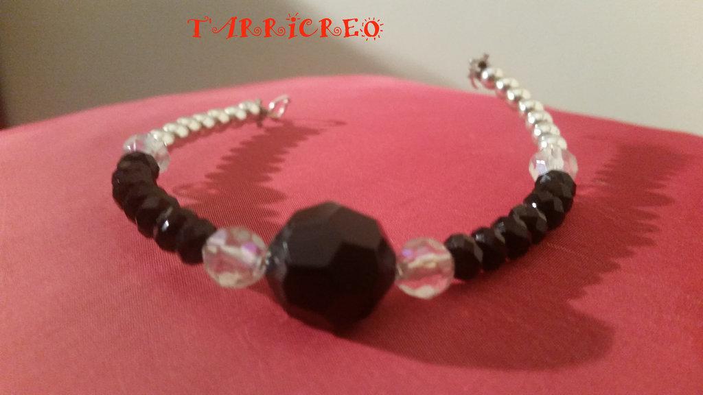 BRACCIALE DEMETRA - metallo morbido/perline argento, nere, trasparenti