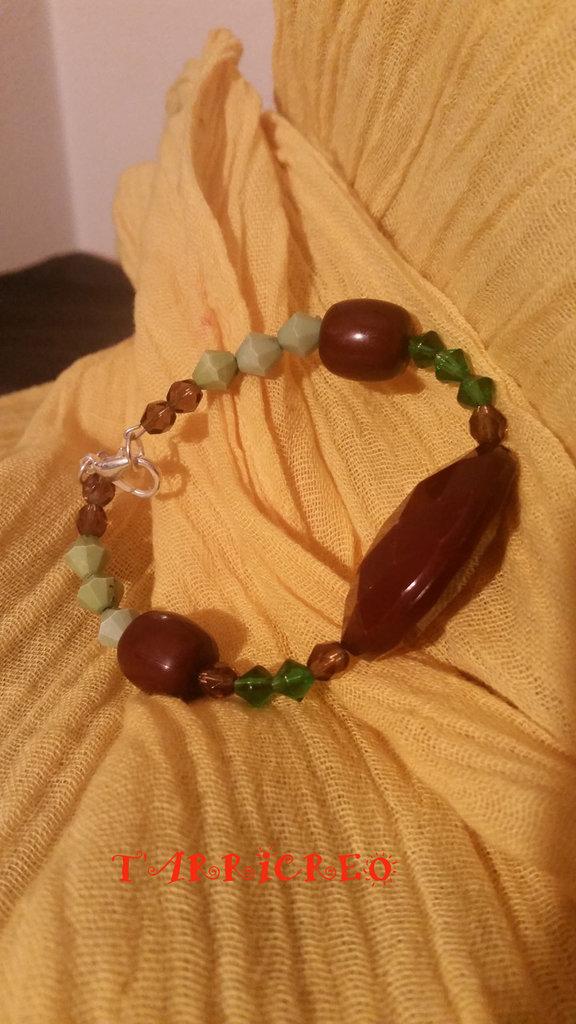BRACCIALE CALIPSO - metallo morbido/pietre marroni/perline