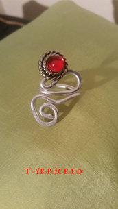 ANELLO MARTE - wire/metallo/pietra rossa