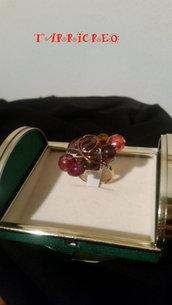 ANELLO CARONTE- rame/perline/pietra marrone