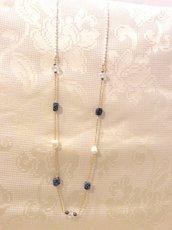 Collana chanel con agata e perle barocche