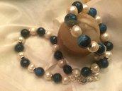 Collona girocollo con agata blu e perle naturali
