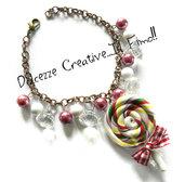Bracciale leccalecca lollipop incartato con perle e diamanti