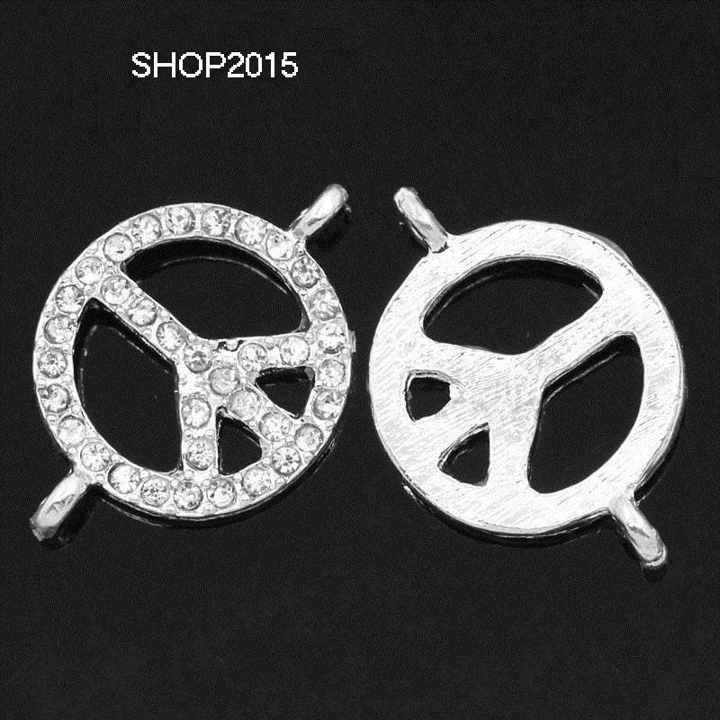 Connettore, ciondolo simbolo della pace  con strass 2,6X1,8cm
