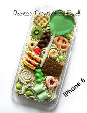 Cover IPhone 6/6s Verde, leccalecca,cuore, lollipop, biscotti, cioccolato, kiwi, millefoglie, idea regalo, kawaii
