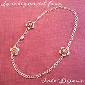 Collana fiori di bottoni beige/marrone/rosa corallo