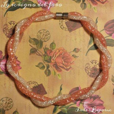 Collana torchon rete tubolare stile Stardust rosa salmone