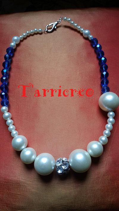 COLLANA NORMA - cristalli blu/perline/swaroski