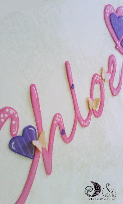 Banner name in corsivo - Chloe - decorazioni cameretta adesive