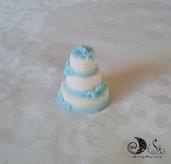Bomboniera matrimonio wedding cake Tiffany con fiorellini
