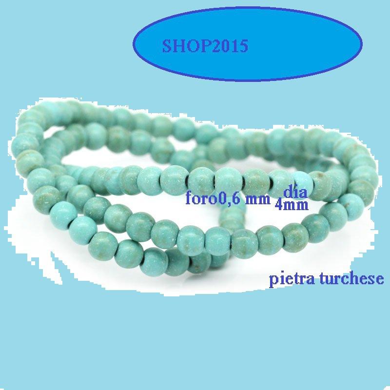 10 Perle Perline a Sfera in Turchese 4 mm