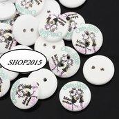 bottone tondo 15 mm  con ragazze black  per scrapbooking o bijoux