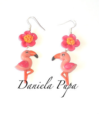 orecchini pink flamingo