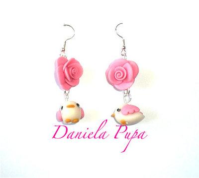 orecchini bird & rose