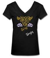 t-shirt donna nera fiori stilizzati