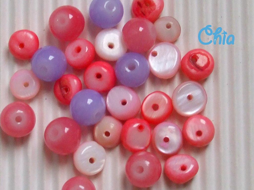 lotto 30 pz madreperla + perle vetro