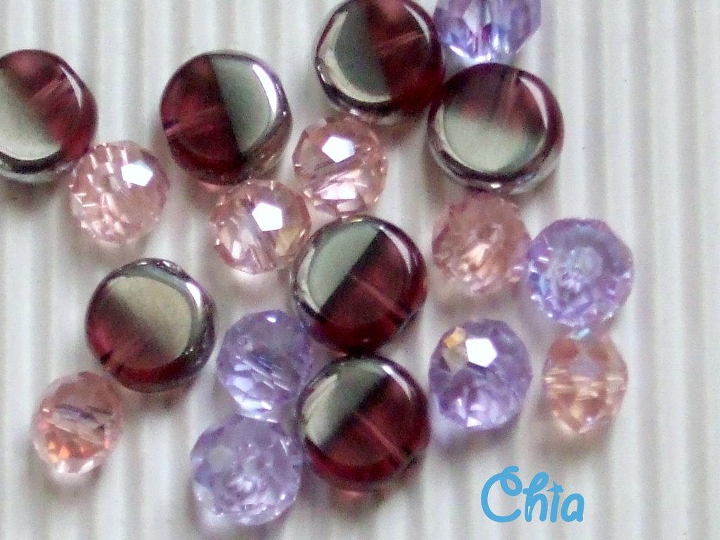 lotto 18 pz. briolette + perle vetro