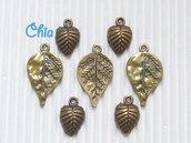 7 charms foglia in bronzo di due forme
