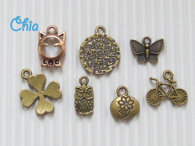 lotto 7 charms bronzo misti