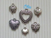 set 6 charms cuori misti