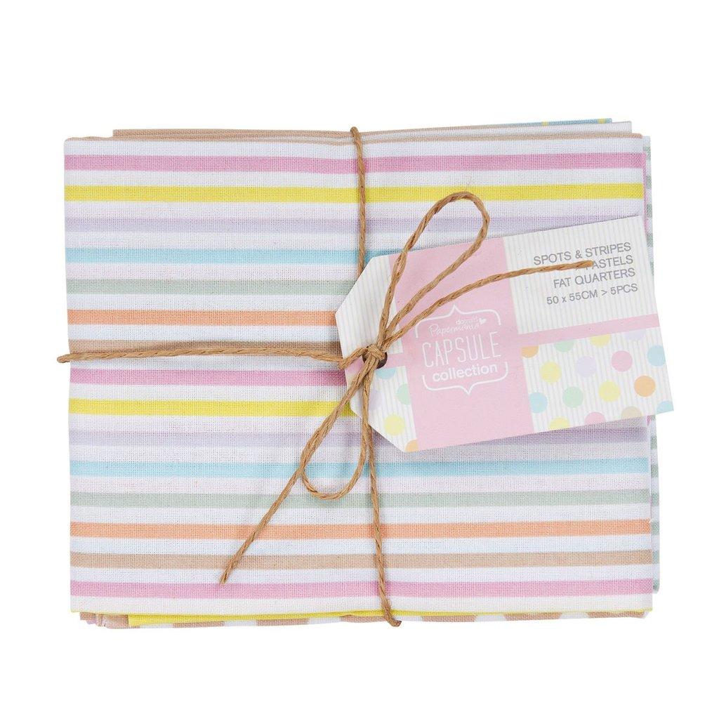 Set 5 Fat Quarters - Spots & Stripes Pastels