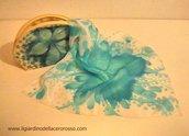 trousse dipinta a mano su cotone, azzurro, il giardino dell'acero rosso