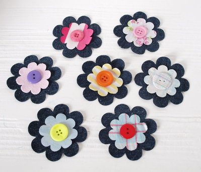 Mix 3 fiori fustellati in jeans - 68 mm