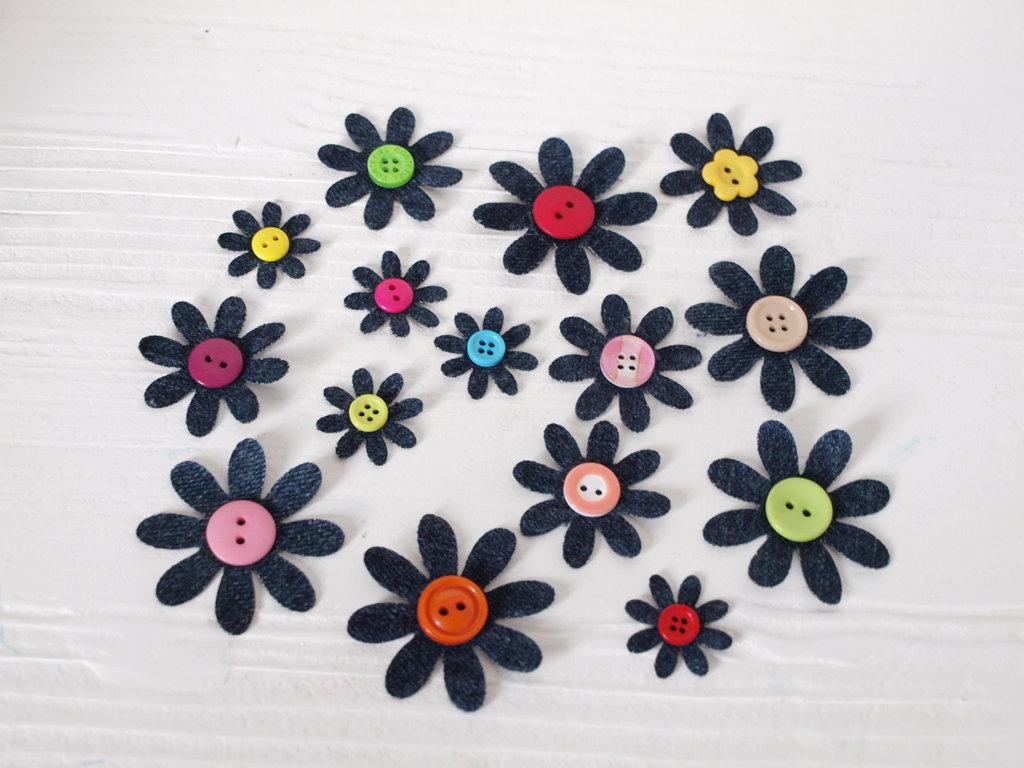 Mix 9 fiori fustellati in jeans