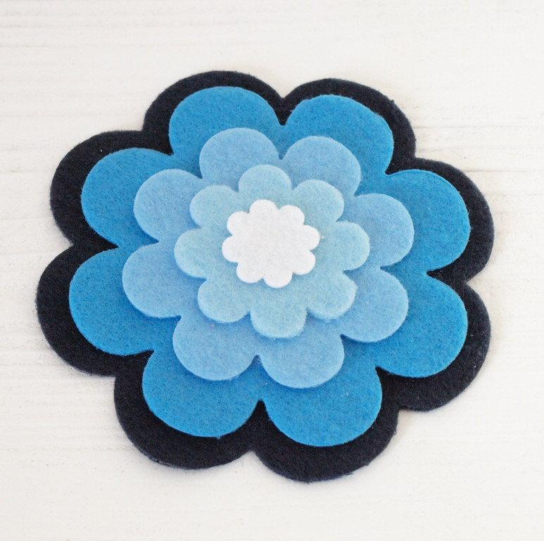 Mix 5 fiori in pannolenci - Gradiente Blu