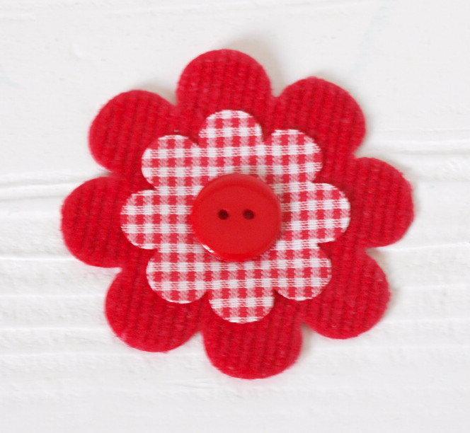 Set 3 fiori fustellati in tessuto