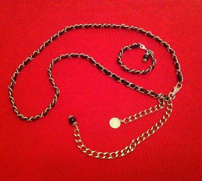 Cintura modello Chanel metallo e pelle blu
