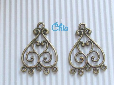 2 basi connettori per orecchini bronzo