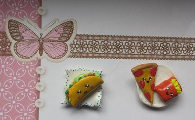 Calamite con magnete in Fimo fatti a mano solo Pizza e Patatine con Piattino Kawaii