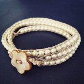 Bracciale a tre giri avorio con perle