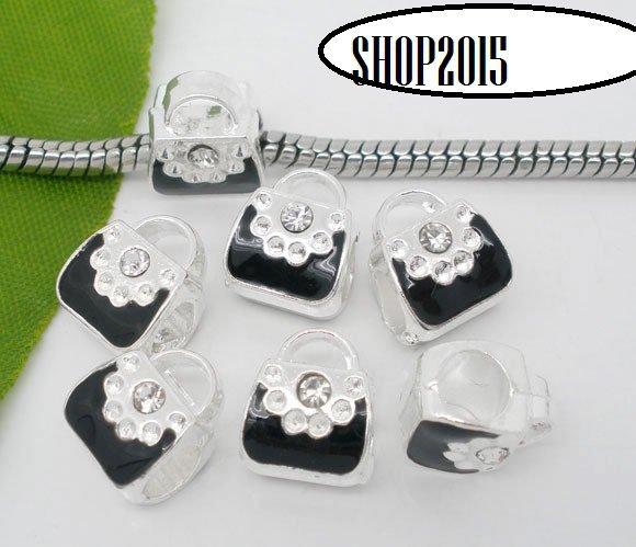perla a foro largo borsetta smaltata con punto strass 11x9 mm