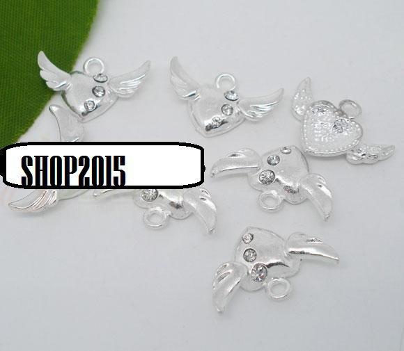 charms ciondolo cuore con ali con strass 2,2x1,3 cm