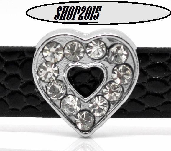 perla, charms cuore 12 mm  con strass adatto a bracciale per cinturino