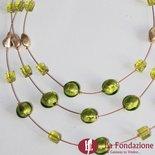 Collana 3 cavi acciaio Lime con perle in vetro di Murano