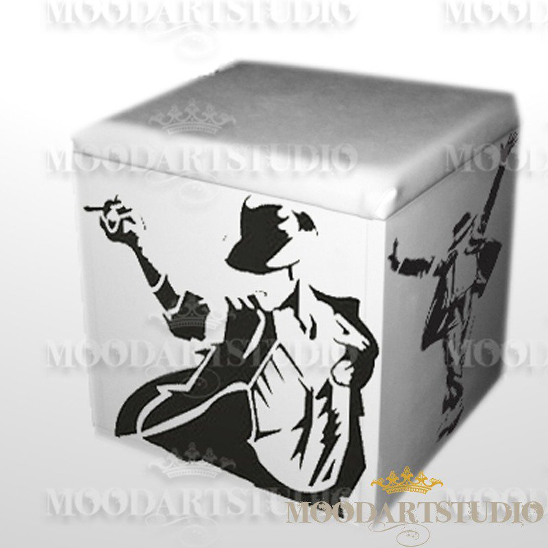 Pouf Michael Jackson pop art dipinto a mano.