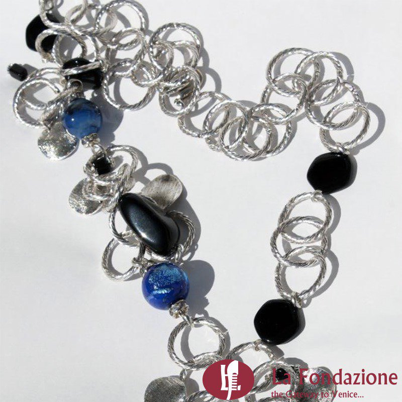 Collana con catena Contarini in vetro di Murano