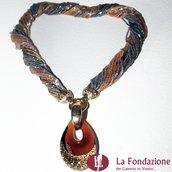 Collana Conteria Goccia Oro Rotto in vetro di Murano