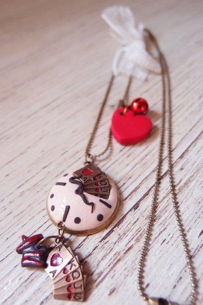 Collana lunga con ciondolo bianconiglio e Alice nel paese delle meraviglie, collana favola Alice, collana con orologio Alice, alice nel paese delle meraviglie