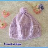 Cappellino bimba, 12-18 mesi, realizzato a mano ai ferri