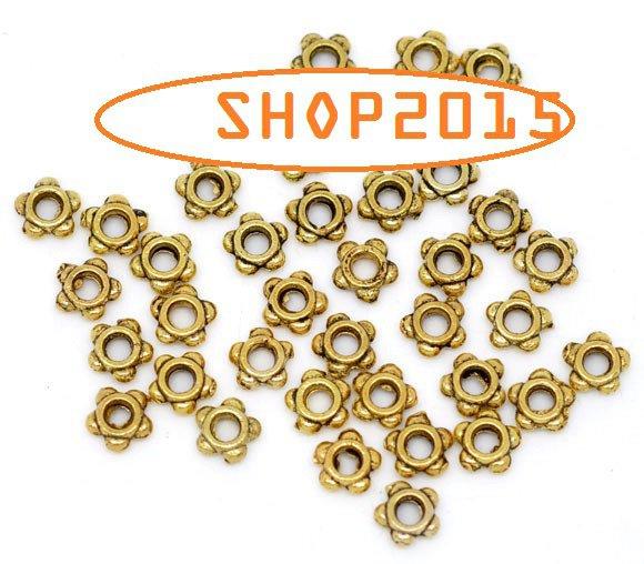 25  Mix distanziatori Perle rondelle a Stella  Oro antico 4 mm