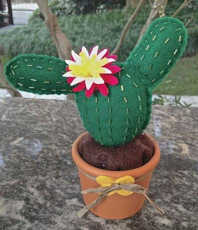 cactus in feltro verde prato con perline e fiore rosa