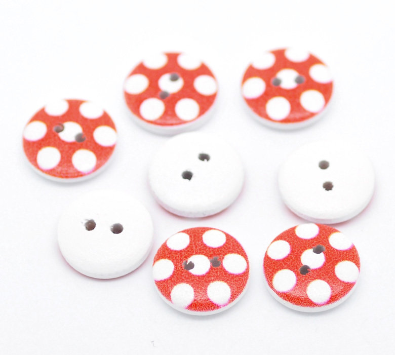 Set 10 bottoni 15 mm - Pois rosso