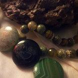 Collana media pietre dure e argento - Madre natura