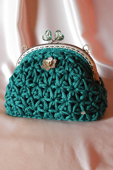Borsa in fettuccia fatta a mano all'uncinetto, Crochet hand made