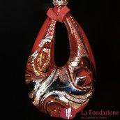 Goccia Vortice Rosso - Pendente in vetro di Murano